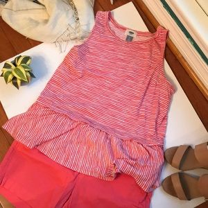 EUC coral striped peplum tank